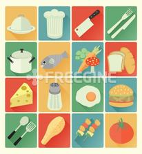 flat icons food set
