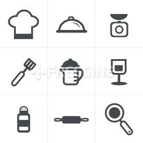 Cooking Foods and Kitchen outline icons set