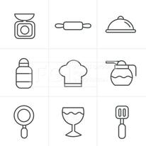 Line Icons Style Cooking Foods and Kitchen outline icons set