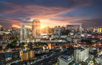 Bangkok city view with traffic