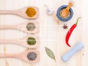 Food Cooking ingredients. Dried Spices herb bay leaves,turmeric,