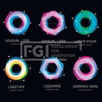 Unusual abstract geometric shapes vector logo set. Circular, polygonal colorful logotypes collection on the black background. Vector illustration.