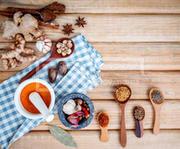 Food Cooking ingredients. Dried Spices herb cinnamon sticks,bay