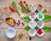 Various of thai food cooking ingredients for spice red curry pas