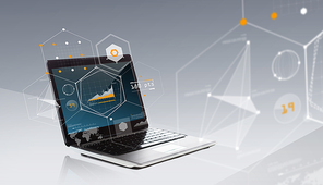 technology, virtual reality and statistics concept - laptop computer with chart and geometric shapes