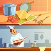Cooking cartoon horizontal banners set with chef and kitchen utensils isolated vector illustration