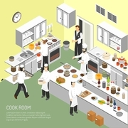 Restaurant cooking room with chefs commercial equipment for frying and baking dishes isometric poster abstract vector illustration