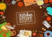 Cooking background with decorative frame containing kitchen stuff food in plates and vegetables on chopping boards vector illustration