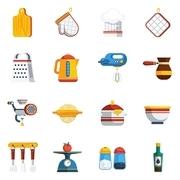 Kitchen Utensils Icons Set. Kitchen Utensils Vector Illustration. Cooking Flat Symbols. Kitchen Utensils Design Set. Cooking Elements Collection.