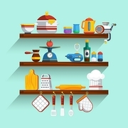 Kitchen Shelves Set. Kitchen Shelves Vector Illustration. Cooking Flat Symbols. Kitchen Shelves Design Set. Cooking Elements Collection.