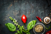 Basil and Tomatoes in rustic wooden background, ingredients for cooking or salad making, top view