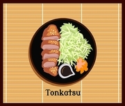Japanese food tonkatsu design flat. Tonkatsu and japanese food, asian meal, dinner lunch, cuisine traditional, dish gourmet, restaurant delicious, tasty cooking, oriental culture, vector illustration