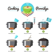 Step by step set icons instruction for the preparation of cooking porridge vector illustration