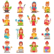 Housewife flat color icons set with women doing housework so as cleaning cooking washing babysitting isolated vector illustration