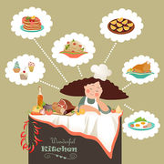 Woman thinking what to cook in the kitchen. Vector illustration