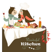 Vector illustration of couple in love cooking meal