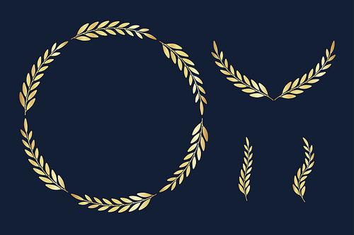 라벨소스 - 골드 컬러의 식물 프레임소스 1