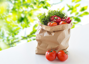 cooking, diet, vegetarian food and healthy eating concept - paper bag with fresh ripe juicy vegetables and greens on table over green natural background