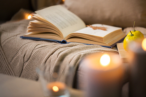 hygge and cozy home and literature concept - book with autumn leaf and blanket on sofa