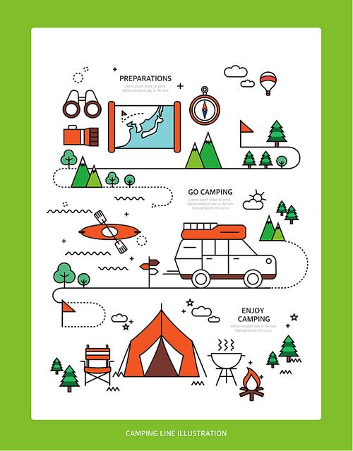 디자인 배경 라인 캠핑 (하니양)