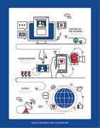 디자인 배경 라인 소셜네트워크 (하니양)