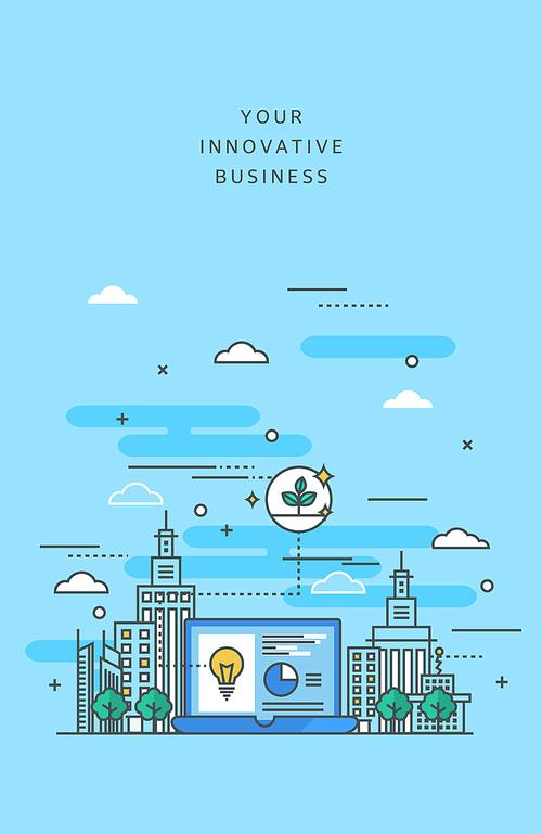 도시와 비즈니스 라인 일러스트 (러블리하)