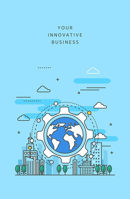 도시와 비즈니스 라인 일러스트2 (러블리하)