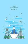 도시와 비즈니스 라인 일러스트4 (러블리하)