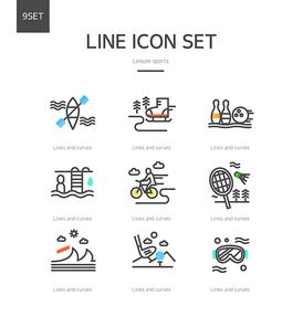 선과 곡선이 조화로운 레저 스포츠 아이콘1 (GIONE)