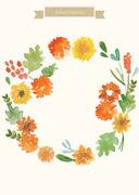 [일러스트레이션]가을수채화-국화 리스