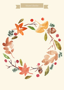 [일러스트레이션]가을수채화-단풍잎 리스