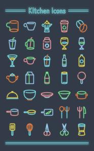 [아이콘]네온사인아이콘-주방용품