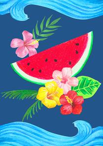 [일러스트] 수박과 열대식물
