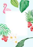[일러스트] 여름 식물 수채화 배경 08