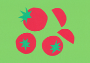 [일러스트] 색종이 배경 - 토마토