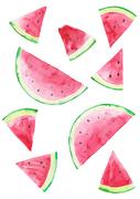 [일러스트] 여름 수채화 - 수박 패턴