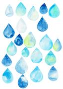[일러스트] 여름 수채화 - 물방울