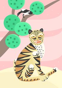 전통 동물 일러스트 - 까치 호랑이