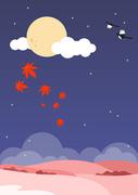 추석 풍경 일러스트 - 보름달과 단풍잎