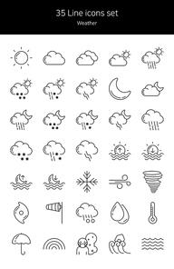 라인 아이콘 세트 - 날씨