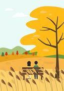 가을 풍경과 사람  벡터 일러스트 05