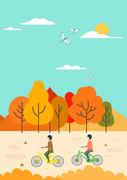가을 풍경과 사람  벡터 일러스트 06