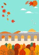 가을 풍경과 사람  벡터 일러스트 08