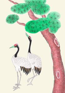 한국 전통 배경 - 소나무와 두루미