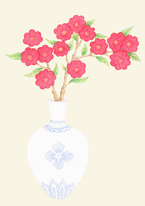한국 전통 배경 - 꽃병