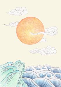 한국 전통 배경 - 일출 풍경