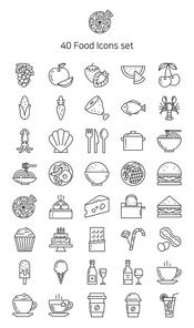 라인 아이콘 세트 - 음식