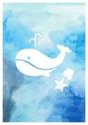 수채화 배경과 고래 일러스트