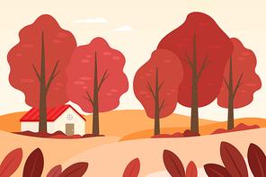 가을 풍경 일러스트 04