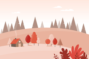 가을 풍경 일러스트 06